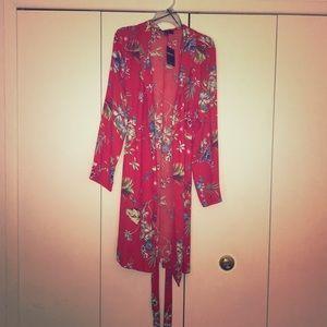 Tropical Floral-Printed Tie-Up Kimono